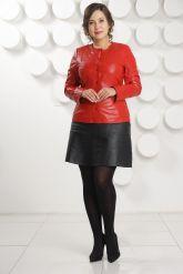 Кожаная куртка красного цвета женская. Фото 3.