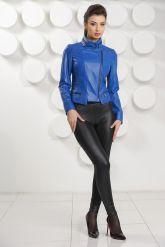 Короткая кожаная куртка синего цвета. Фото 1.