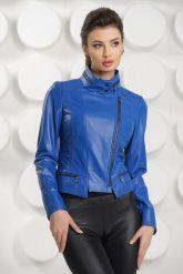Короткая кожаная куртка синего цвета. Фото 2.