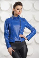 Короткая кожаная куртка синего цвета. Фото 3.