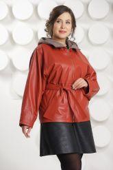 Кожаная куртка с капюшоном большого размера кораллового цвета. Фото 2.