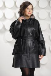 Итальянская кожаная куртка больших размеров с капюшоном. Фото 2.
