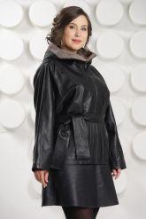 Итальянская кожаная куртка больших размеров с капюшоном. Фото 3.