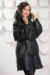 Итальянская кожаная куртка больших размеров с капюшоном. Фото 4.