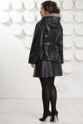 Итальянская кожаная куртка больших размеров с капюшоном. Фото 5.