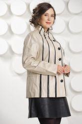 Светлая кожаная куртка с замшевыми вставками. Фото 3.