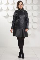Кожаная куртка косуха на молнии больших размеров. Фото 1.