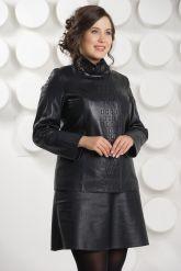 Кожаная куртка косуха на молнии больших размеров. Фото 3.