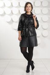 Черная кожаная куртка с поясом. Фото 3.
