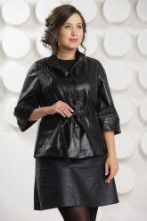 Черная кожаная куртка с поясом. Фото 2.