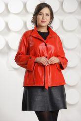 Красная кожаная куртка больших размеров. Фото 2.