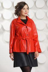 Красная кожаная куртка больших размеров. Фото 3.