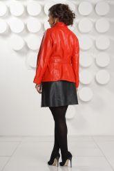 Красная кожаная куртка больших размеров. Фото 4.