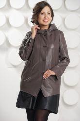 Кожаная куртка с капюшоном цвета капучино. Фото 3.
