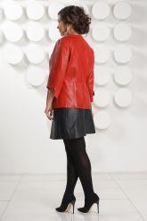 Красная перфорированная кожаная куртка. Фото 4.