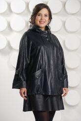 Кожаная куртка больших размеров с капюшоном. Фото 2.