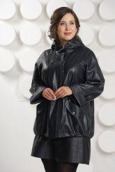 Кожаная куртка больших размеров с капюшоном. Фото 3.