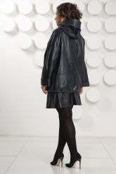 Кожаная куртка больших размеров с капюшоном. Фото 4.