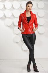 Кожаный пиджак красного цвета. Фото 1.