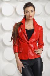 Кожаный пиджак красного цвета. Фото 2.