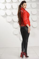 Кожаный пиджак красного цвета. Фото 3.
