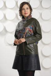 Кожаная куртка с принтом оливкового цвета. Фото 2.