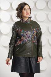 Кожаная куртка с принтом оливкового цвета. Фото 3.