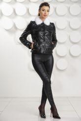 Короткая кожаная куртка с воротником из меха норки. Фото 1.