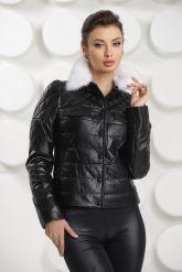 Короткая кожаная куртка с воротником из меха норки. Фото 2.