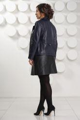Синяя кожаная куртка Милан. Фото 4.