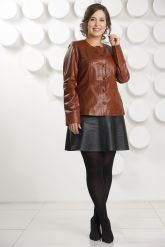 Кожаная куртка коричневого цвета. Фото 1.