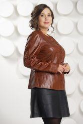 Кожаная куртка коричневого цвета. Фото 2.