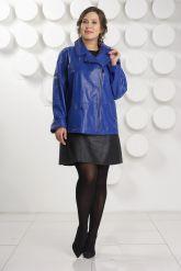 Синяя кожаная куртка больших размеров Милан. Фото 4.