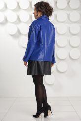 Синяя кожаная куртка больших размеров Милан. Фото 3.
