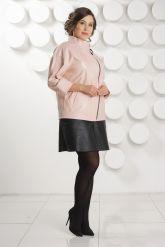 Розовая кожаная куртка больших размеров. Фото 1.