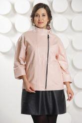 Розовая кожаная куртка больших размеров. Фото 2.