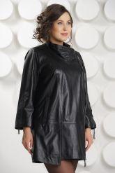 Удлиненная кожаная куртка на молнии. Фото 3.