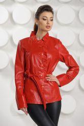 Кожаная куртка с рюшами красного цвета. Фото 2.