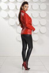 Кожаная куртка с рюшами красного цвета. Фото 3.