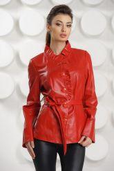 Кожаная куртка с рюшами красного цвета. Фото 4.