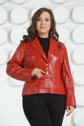 Короткий кожаный пиджак больших размеров. Фото 2.