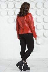 Короткий кожаный пиджак больших размеров. Фото 4.