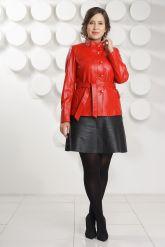 Кожаный пиджак на пуговицах красного цвета DM. Фото 1.