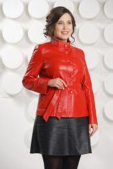 Кожаный пиджак на пуговицах красного цвета DM. Фото 2.