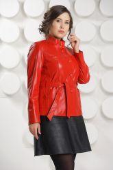Кожаный пиджак на пуговицах красного цвета DM. Фото 3.