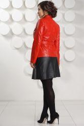 Кожаный пиджак на пуговицах красного цвета DM. Фото 4.