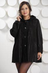 Замшевая куртка больших размеров с капюшоном. Фото 3.