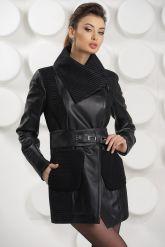 Удлиненная кожаная куртка с трикотажными карманами. Фото 2.