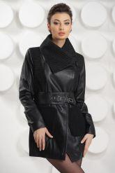 Удлиненная кожаная куртка с трикотажными карманами. Фото 3.