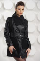 Удлиненная кожаная куртка с трикотажными карманами. Фото 4.
